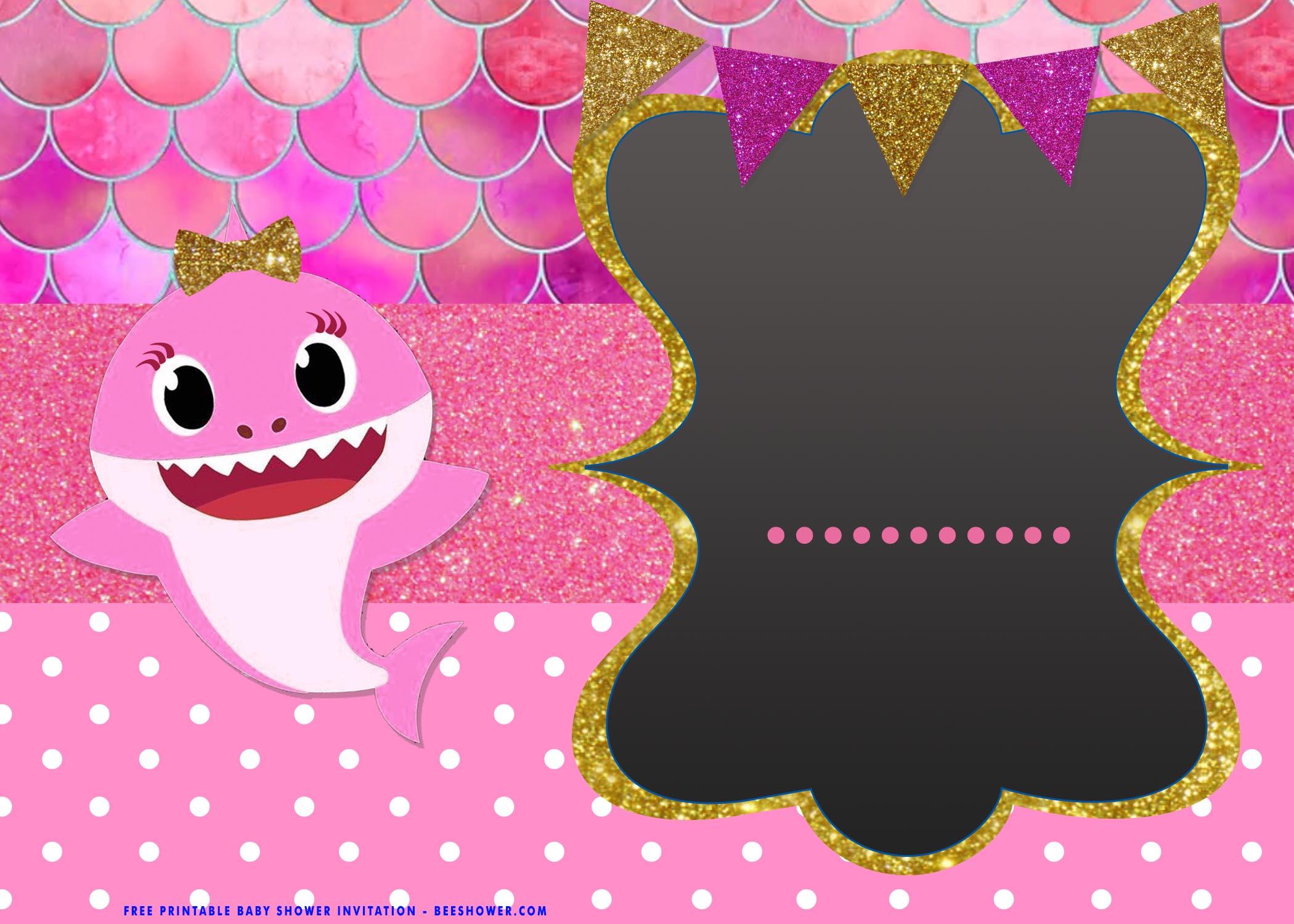 cute baby shark baby shower invitation
