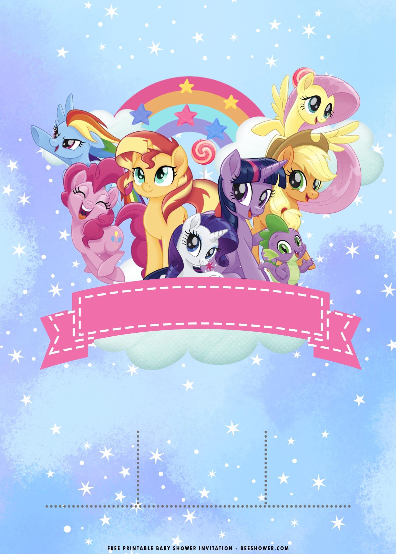 rainbow little pony birthday invitation