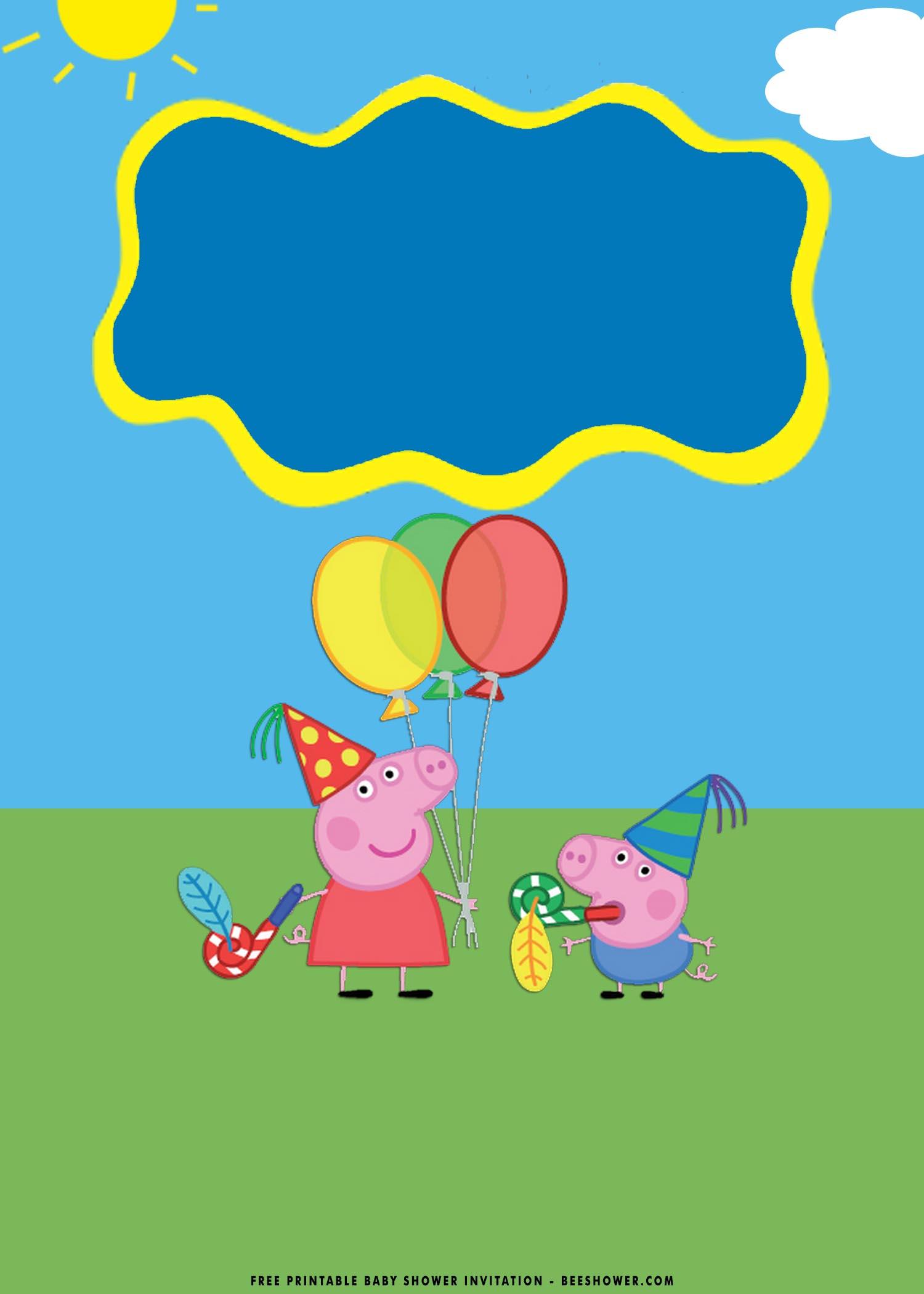 free printable peppa pig baby shower