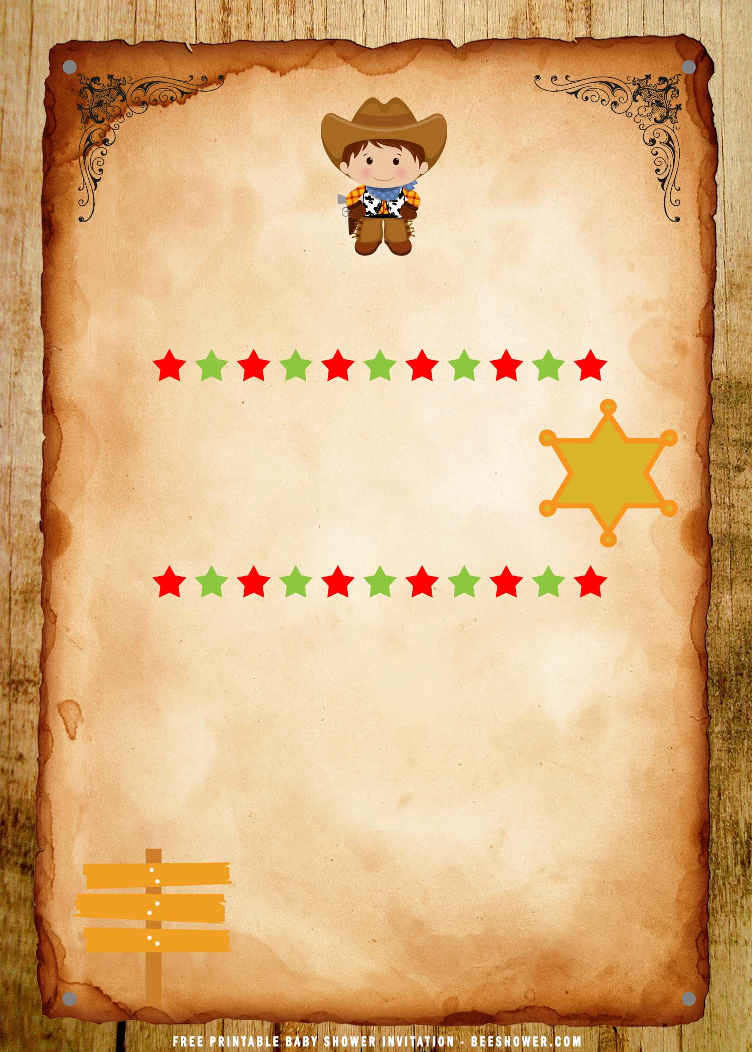 Free Printable Cute Wild West Birthday Party