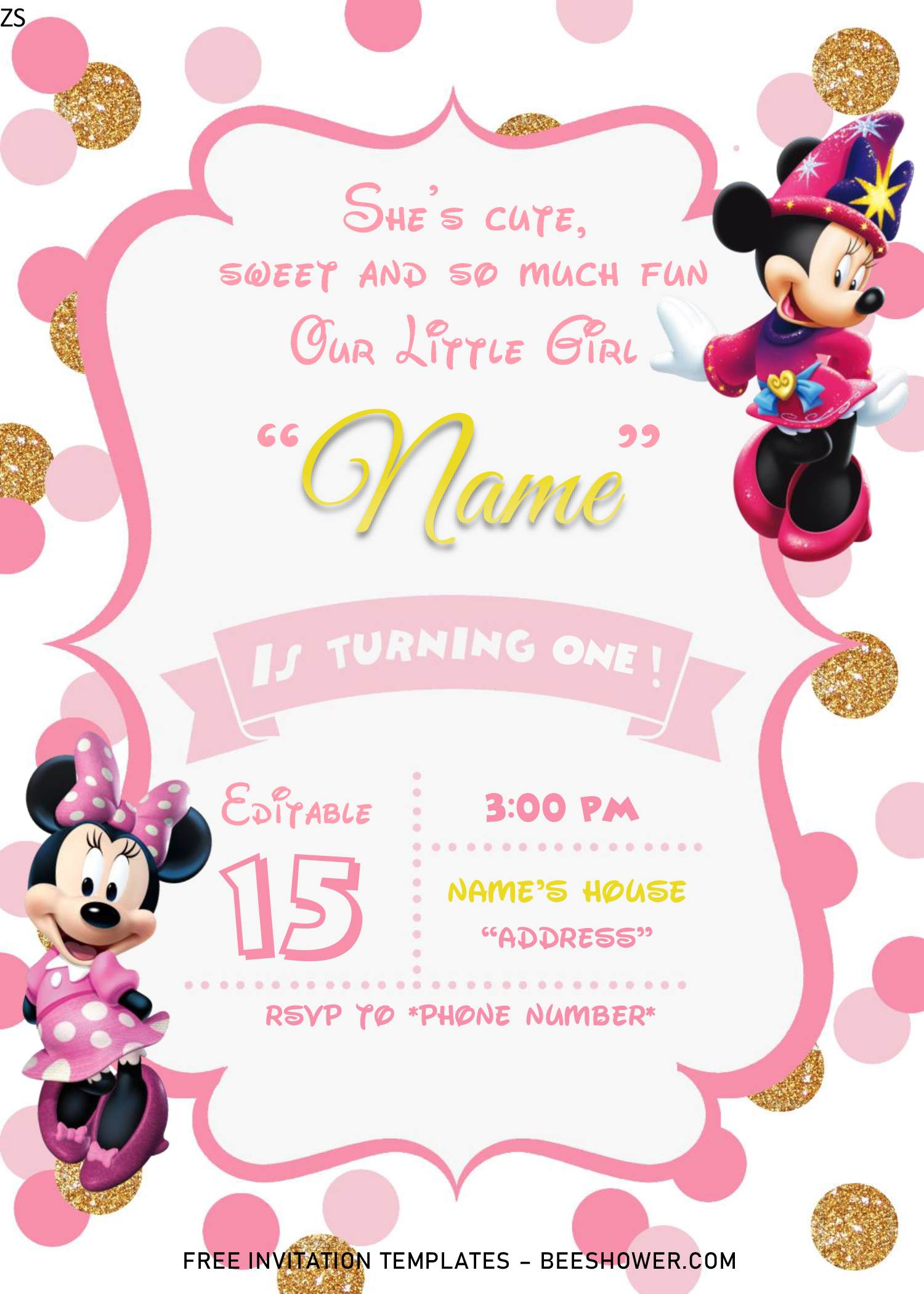 pink and gold glitter minnie mouse baby