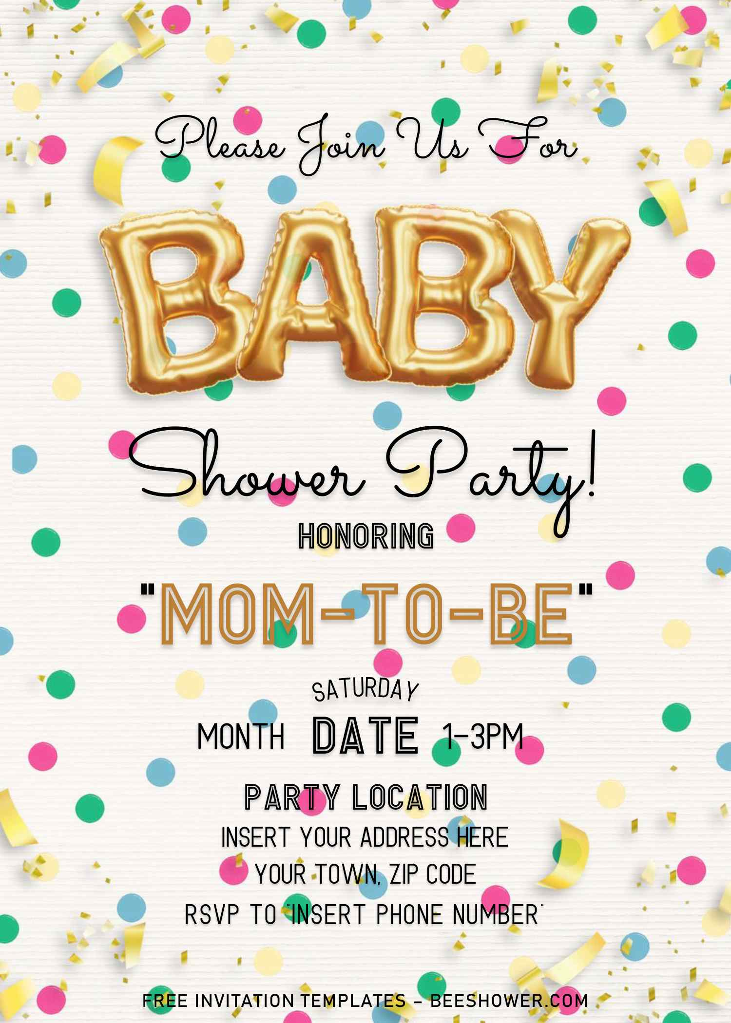 free gold balloons baby shower