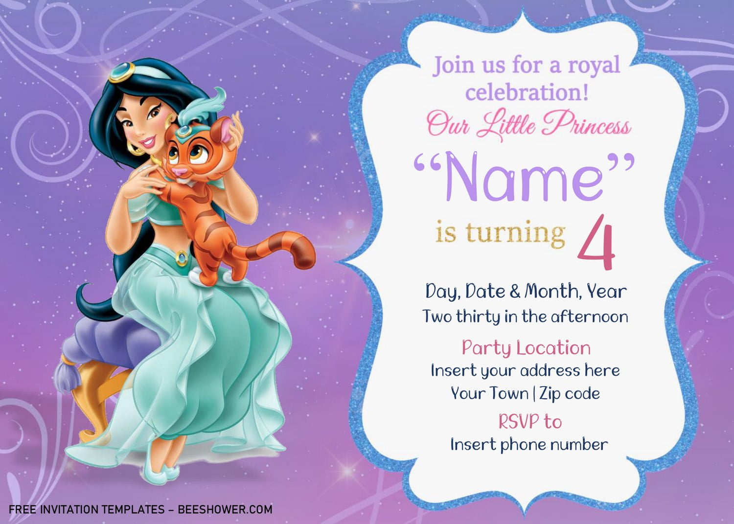free aladdin baby shower invitation
