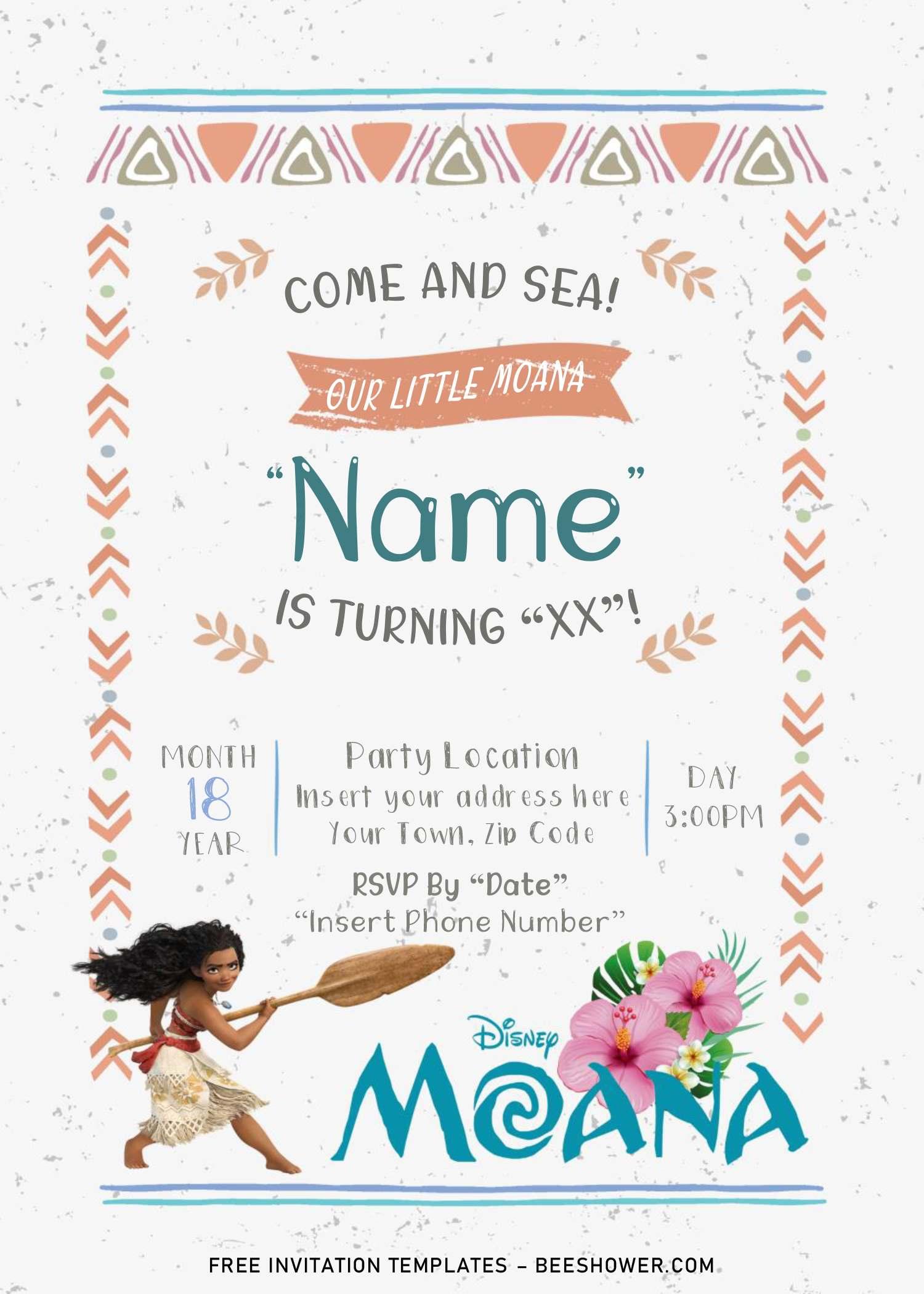 free moana baby shower invitation
