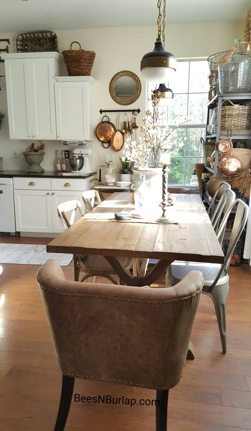 industrial lighting dining table white kitchen copper