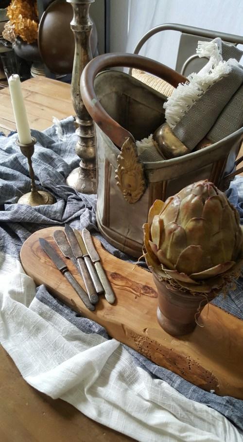 Old Rustic European Fall Tablescape Wicker French Basket Vintage Silver Glass Bottles Artichoke