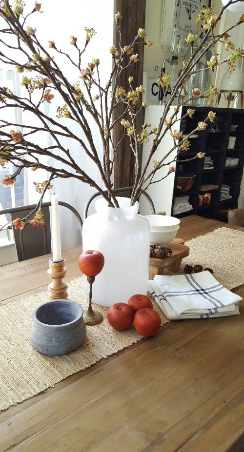 Shop the house design challenge Fall dining table decor white wood apples and blossoms