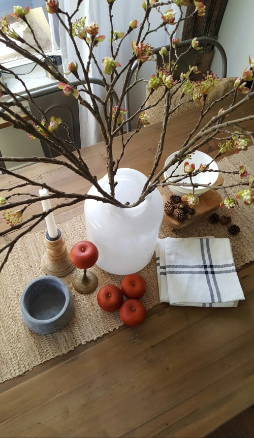 Shop the house design challenge Fall Dining Table decor apples and blossoms branches white vase