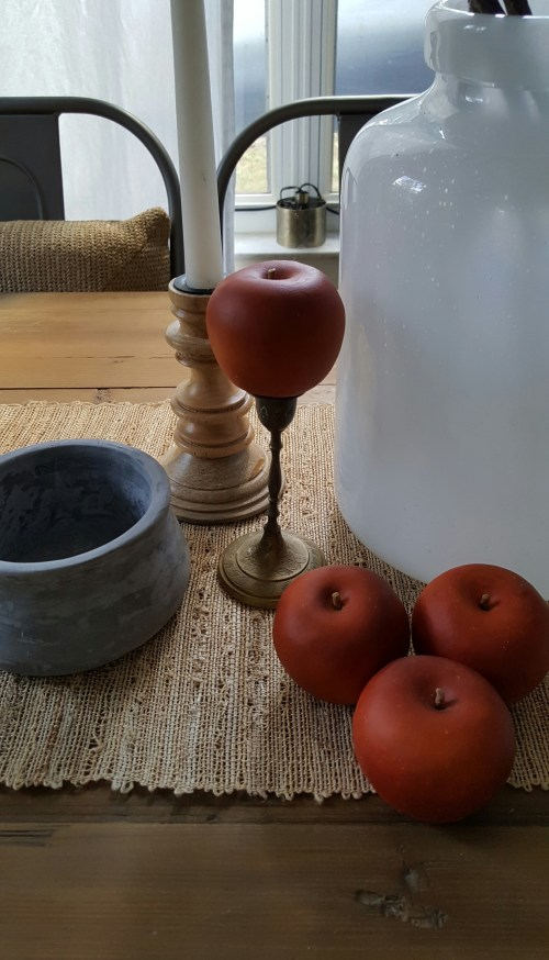 Shop the House design challenge Fall Dining Table Decor Apples and Blossoms