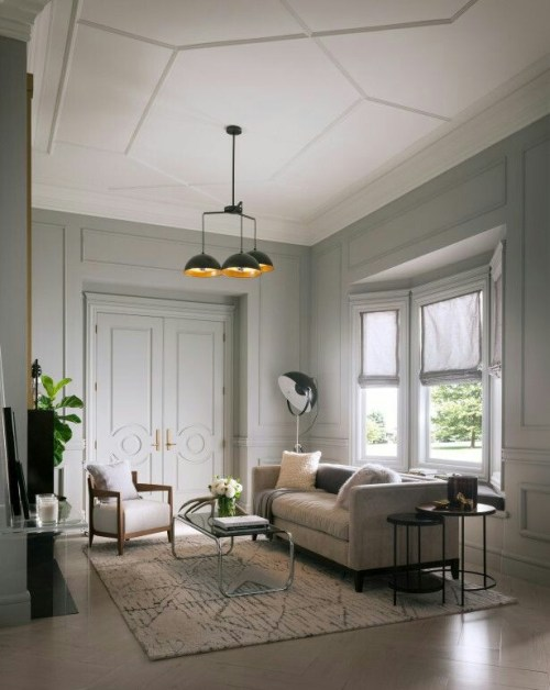 Living Room Interior Design Details Ceiling Inspiration Neutral Decor Crown Moulding Trim