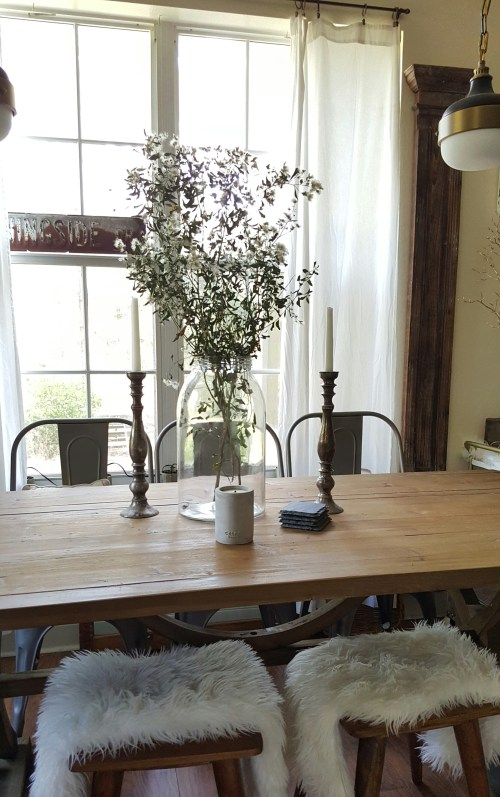 White Flowers and Dried Branches in Home Decor Farmhouse Kitchen and Dining Table