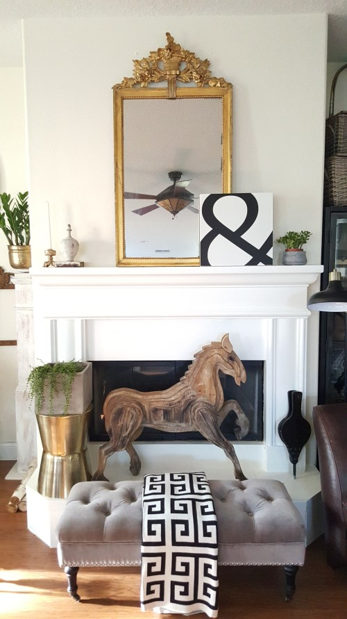 White Painted Stone Fireplace Makeover DIY Living Room Decor