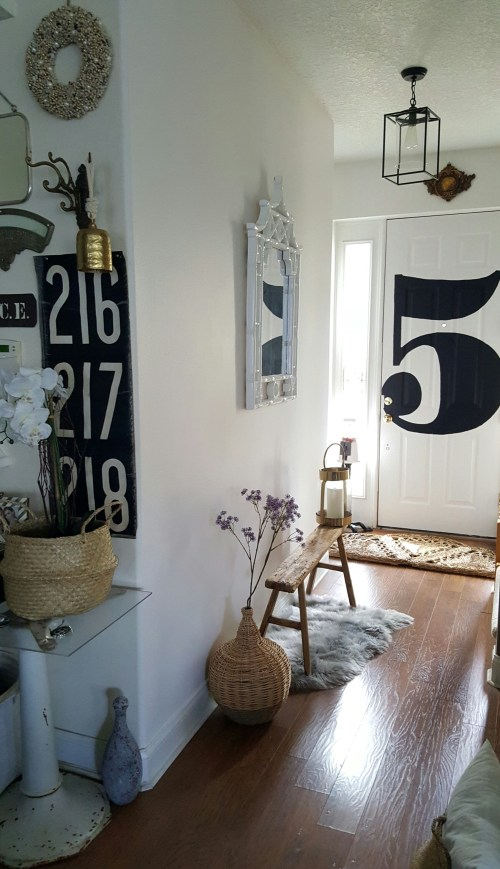 Spring Home Decor Blog Tour White Foyer Makeover Modern Farmhouse Eclectic White Wood Mirror