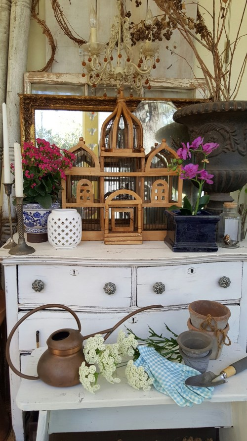 Spring Home Decor Blog Hop Back Porch Outdoor decor blue pottery glass Farmhouse dresser Orchid wood birdcage