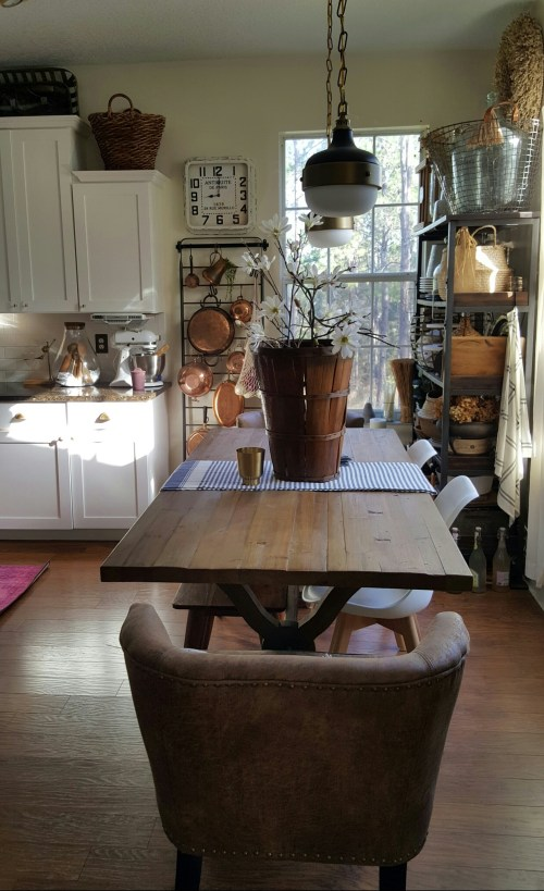 Spring Blog Tour White Kitchen Vintage Basket Branches Homegoods Farmhouse Rustic Copper Table Greenery Decor