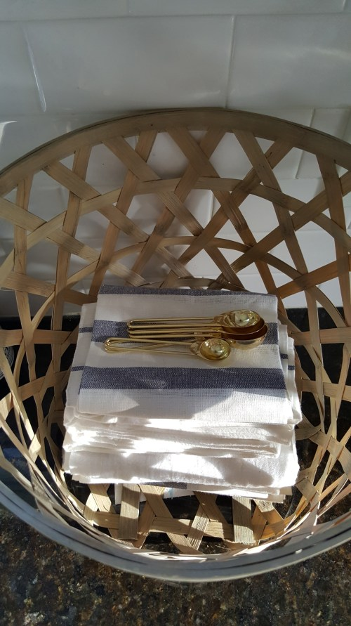 Spring Blog Tour White Farmhouse Kitchen Blue Linens Basket Decor