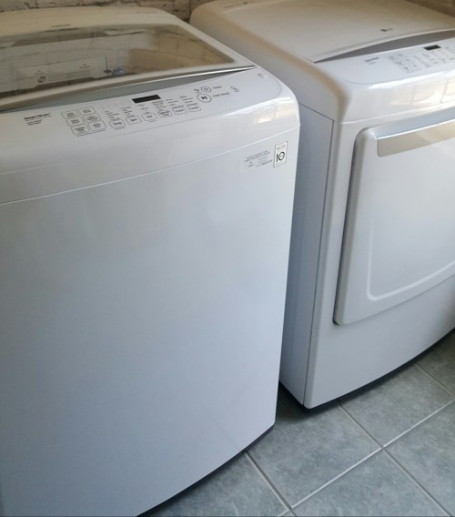 One Room Challenge Laundry Room Makeover LG washing machine dryer