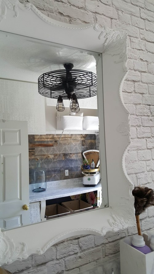 Beesnburlap One Room Challenge Urban Industrial Vintage Glam Laundry Room Reveal Makeover DIY Inspiration Brick Wallpaper Wood Wall Modern Farmhouse Decor Mirror