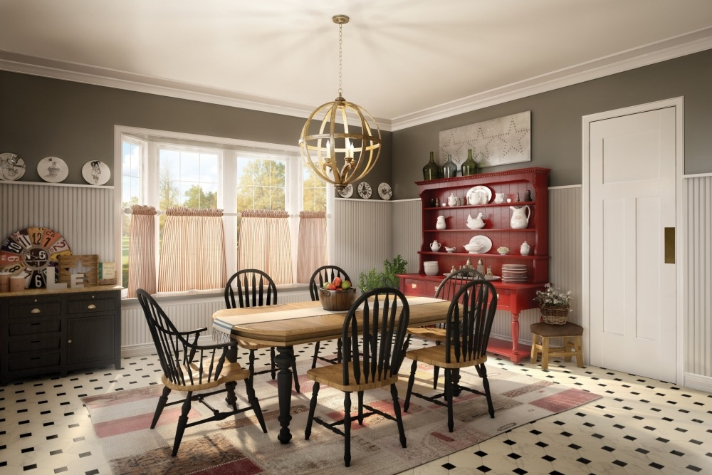 Country Dream Kitchen Dining Room Farmhouse Rustic Red Hutch Beadboard Wainscoting Metrie Option M Baskets Chandelier Bottle Decor Flowers Vintage Design