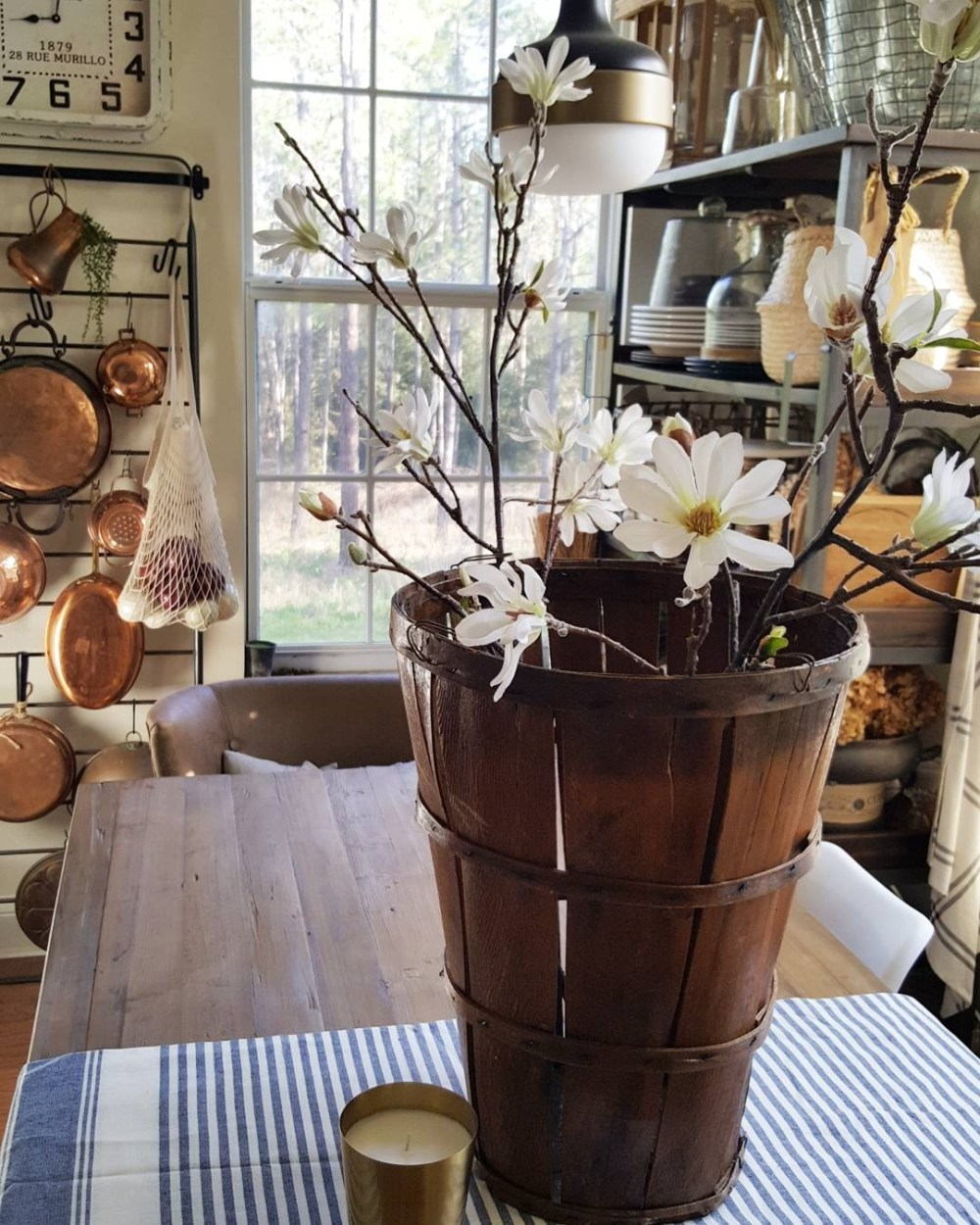 Country Farmhouse Kitchen White Tulips Flowers Wood Spoons Bread Boards Concrete Table Metrie Moulding Molding Baskets Country Living Decor Design