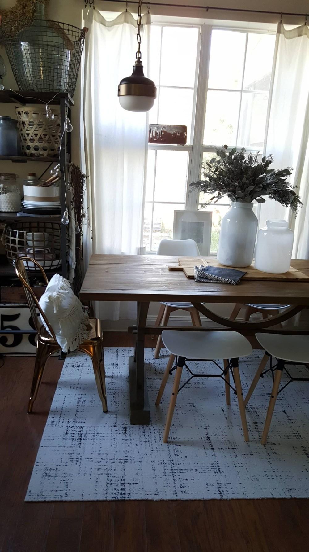 cozy dining room decor design modern farmhouse table wood white gold eucalyptus gray industrial vintage winter decor Chair