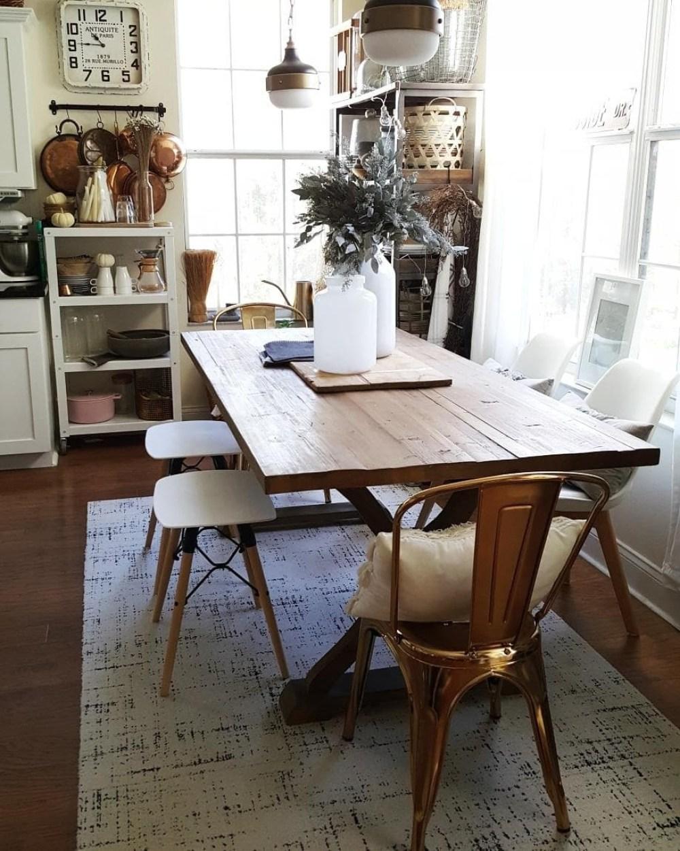 cozy dining room decor design modern farmhouse table wood white gold eucalyptus gray industrial vintage winter decor chair FLOR rug