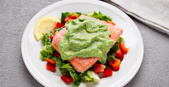 Poached Salmon with Probiotic Avocado Dill Sauce