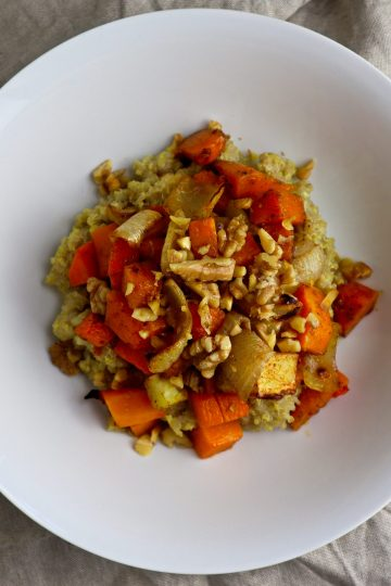 how to make vegetarian quinoa and roasted butternut squash bowl