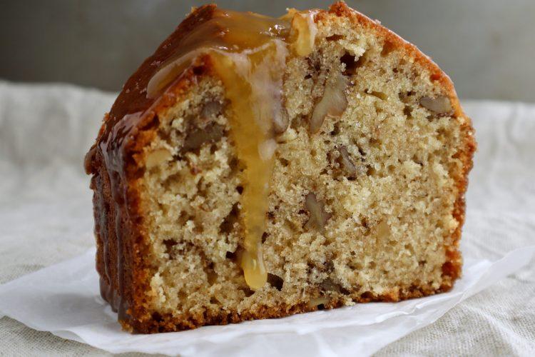 walnut cake with caramel sauce