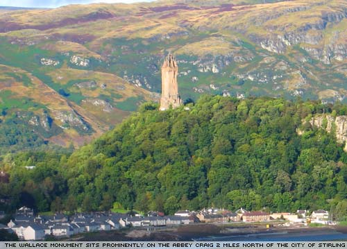 The Wallace Monument commemorates the 13th century Scottish hero William Wallace.