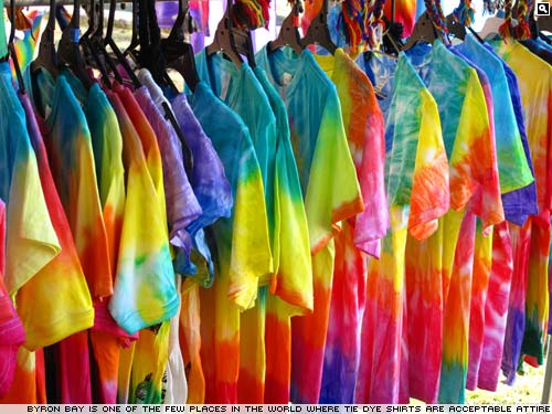 Tie-dye T shirts at Byron Bay