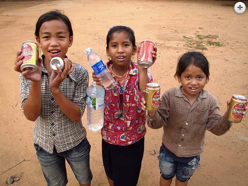 Children selling drinks