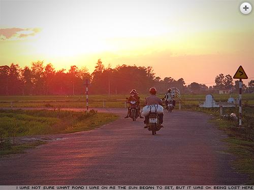 Sunset road in Vietnam