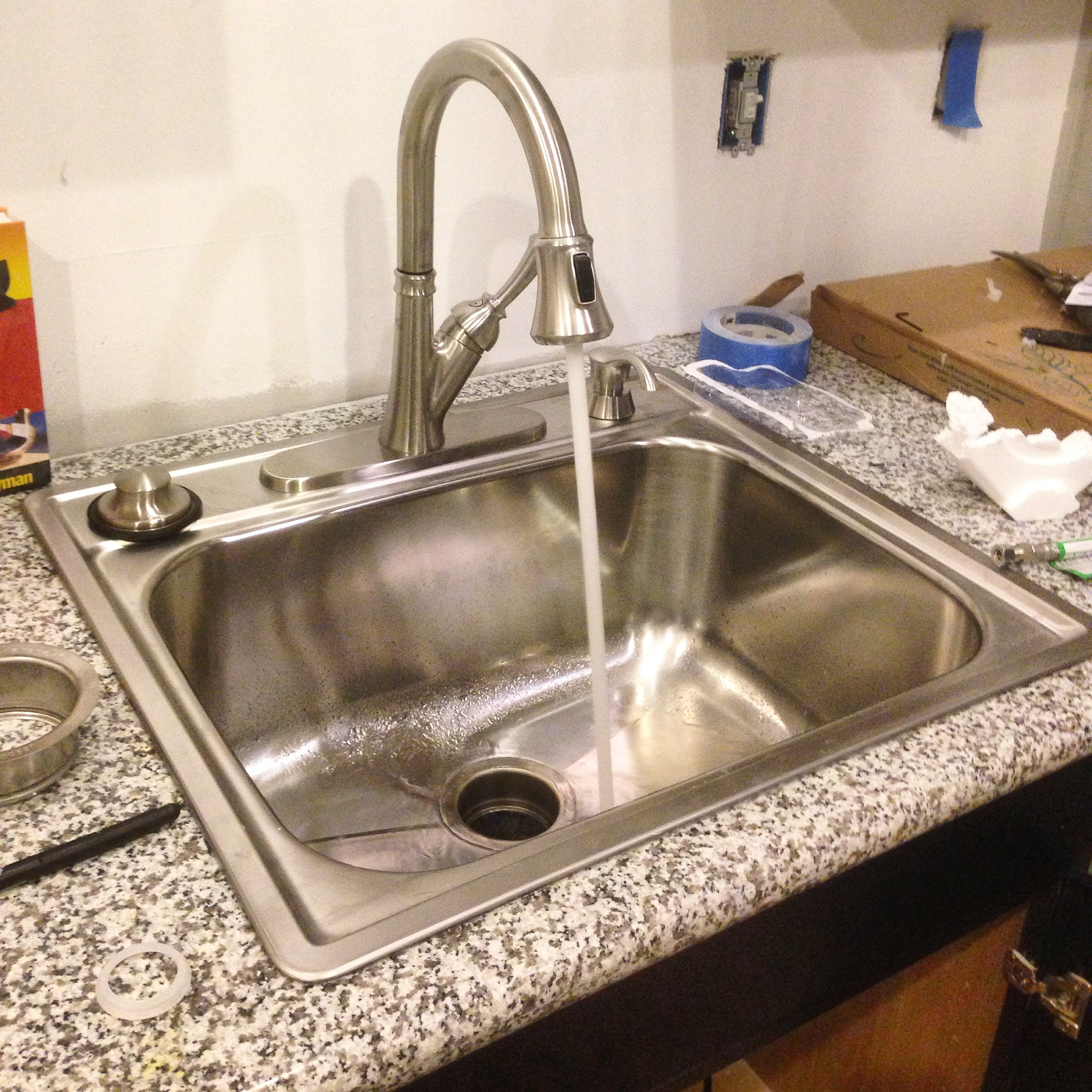 We Have A Working Kitchen Sink! And Dishwasher! And We Finally Have  Countertops (granite, I May Add). Aside From Some Painting, A Subway Tile  Backsplash, ...