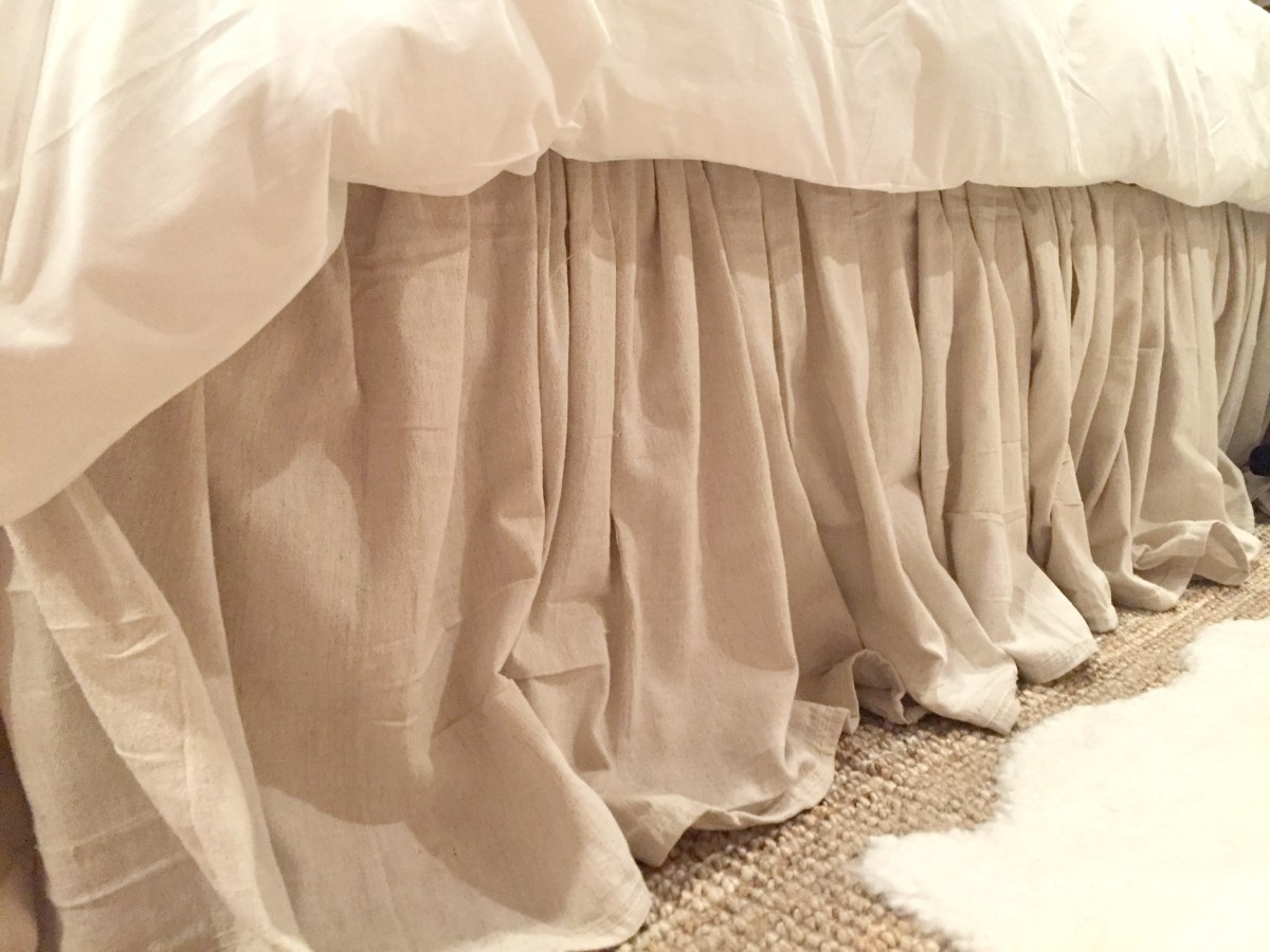DIY No-Sew Drop Cloth Bed Skirt