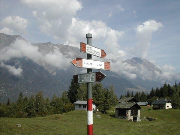 mountain path signs, Italian Alps