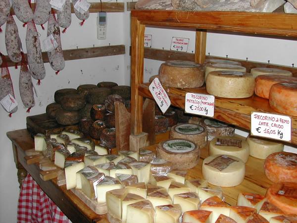 cheeses and salami,  Macelleria Falorni, Greve del Chianti, Tuscany
