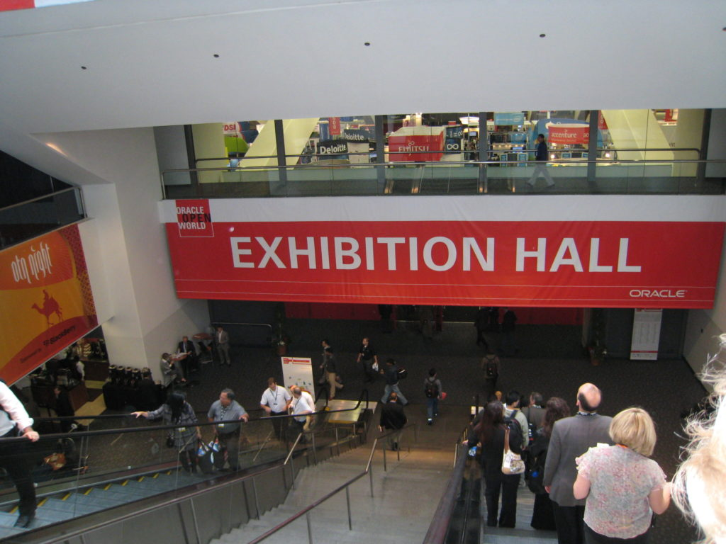 Moscone Center exhibition hall set up for Oracle Open World