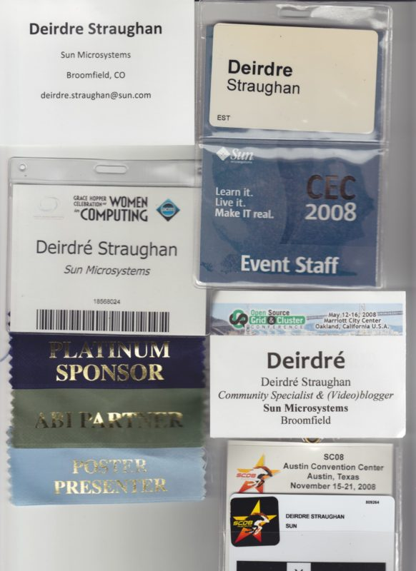 badges from conferences I have attended