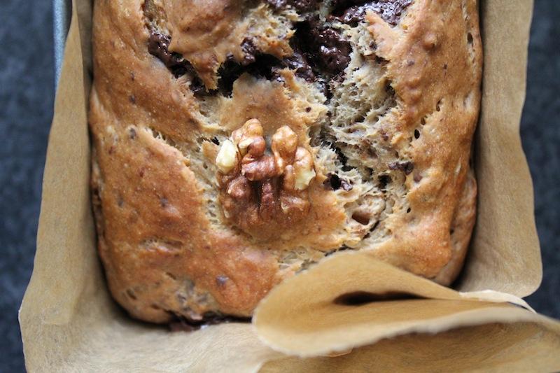 Bananen chocolade walnoten cake zonder suiker