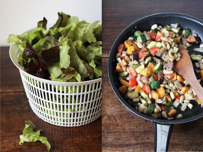 Simpele gebakken groenten salade