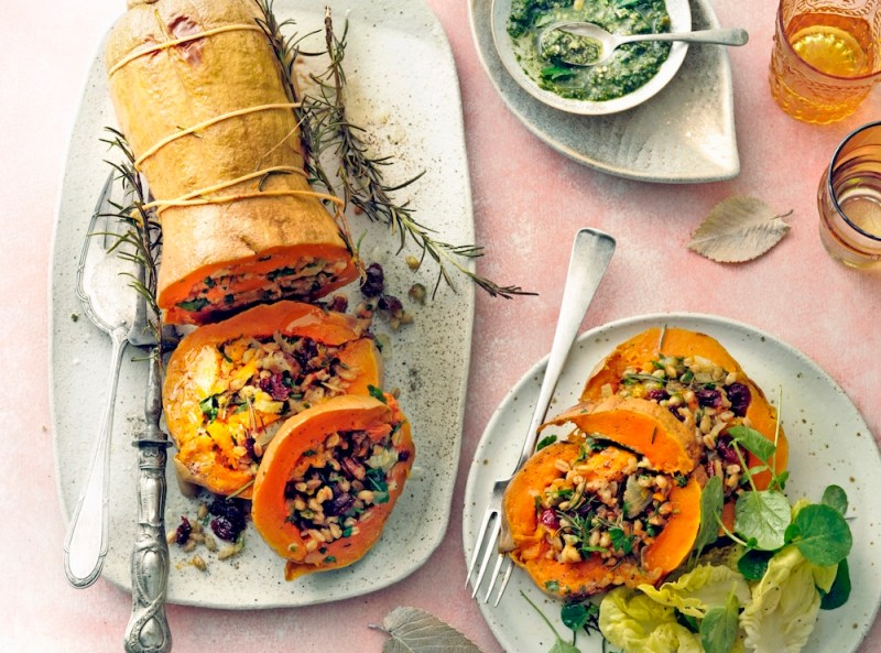 Butternut spelt risotto met pesto vegan kerstmis