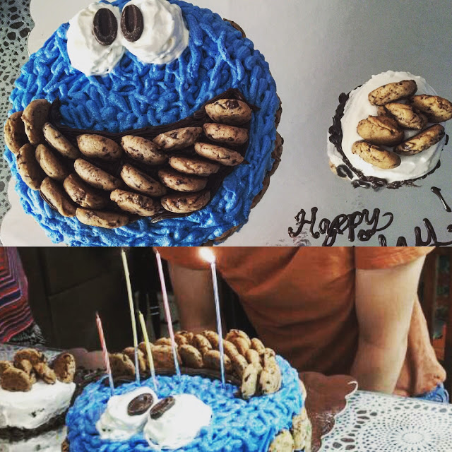 Cookie Monster Cake and Korean Birthday Candles