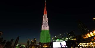 Indian Flag lights up in Burj Khalifa | UAE
