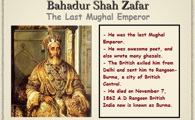 essay on bahadur shah zafar 2 Bahādur shāh ii, (born oct 24, 1775, delhi, india—died nov 7, 1862, rangoon [ now yangon], myanmar), the last mughal emperor of india (reigned 1837–58) he was a poet, musician, and calligrapher, more an aesthete than a political leader he was the second son of akbar shāh ii and lāl bāī for most.