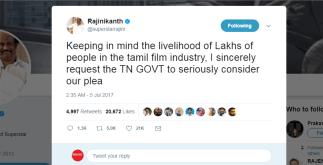 Rajinikanth Tweet Supports Theatre Strike   Continues for 3rd day 5 Behind History