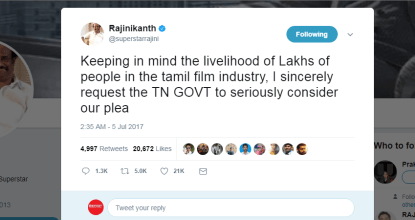 Rajinikanth Tweet Supports Theatre Strike | Continues for 3rd day 35 Behind History