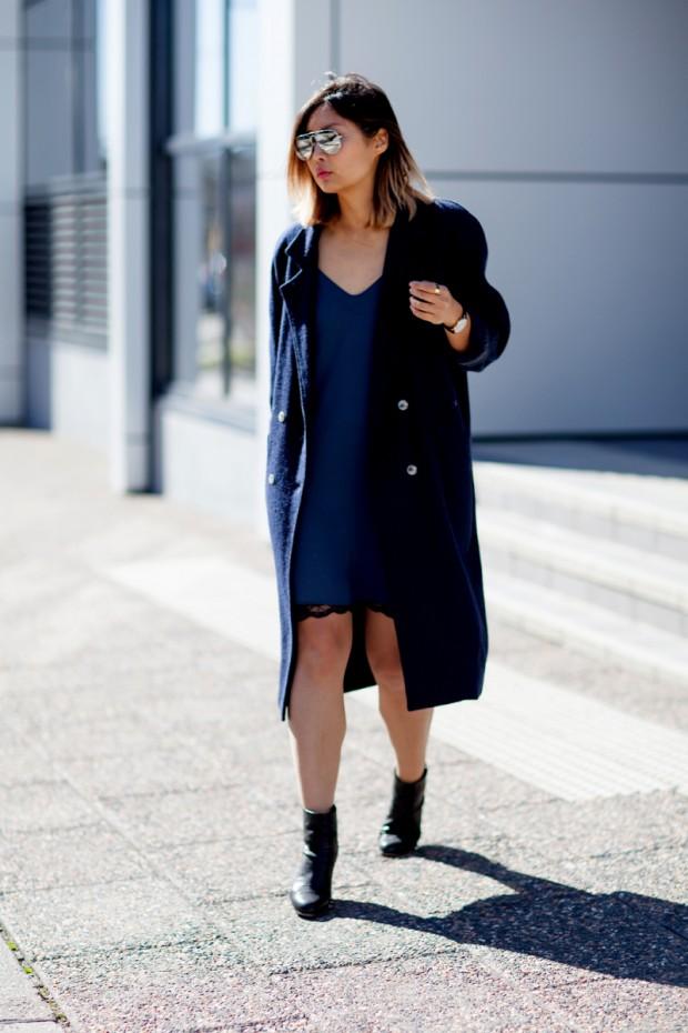 7e116ad8680 Zara Slip Dress and Navy Coat - Beige Renegade