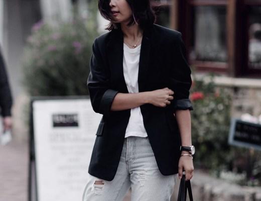Celine Cabas Tibi Mules Blazer and Jeans Outfit Streetstyle Jiawa Liu Beige Renegade