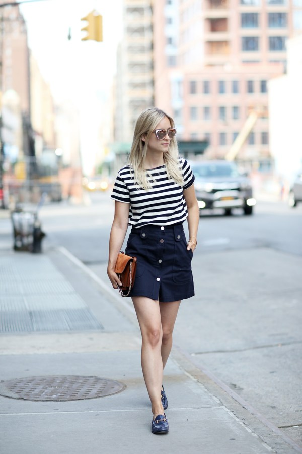 The Fashion Guitar Button Front Skirt